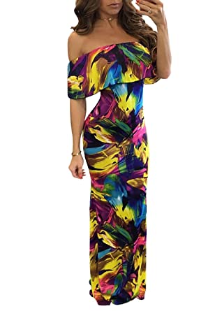 CoCo Fashion Womens Floral Printed Cocktail Party Long Dress (Small, Multi)