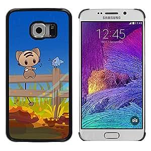 Be Good Phone Accessory // Dura Cáscara cubierta Protectora Caso Carcasa Funda de Protección para Samsung Galaxy S6 EDGE SM-G925 // Cute Cat & Bird Friends