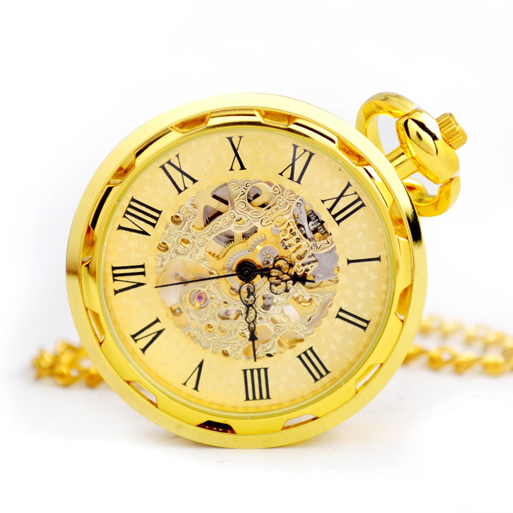 BoShiYa Mens Gold Steam Hand Wound Mechanical Pocket Watch Open Faced with Chain