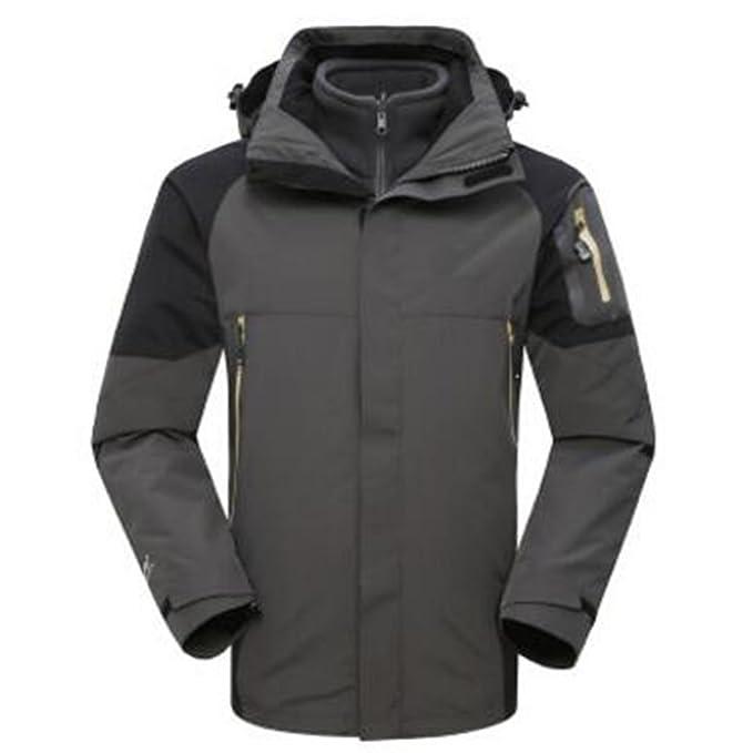 WU LAI Outdoor Montañismo Wear Ski Wear Chaqueta Hombre Triple Two Piece Windbreak Warm,Black
