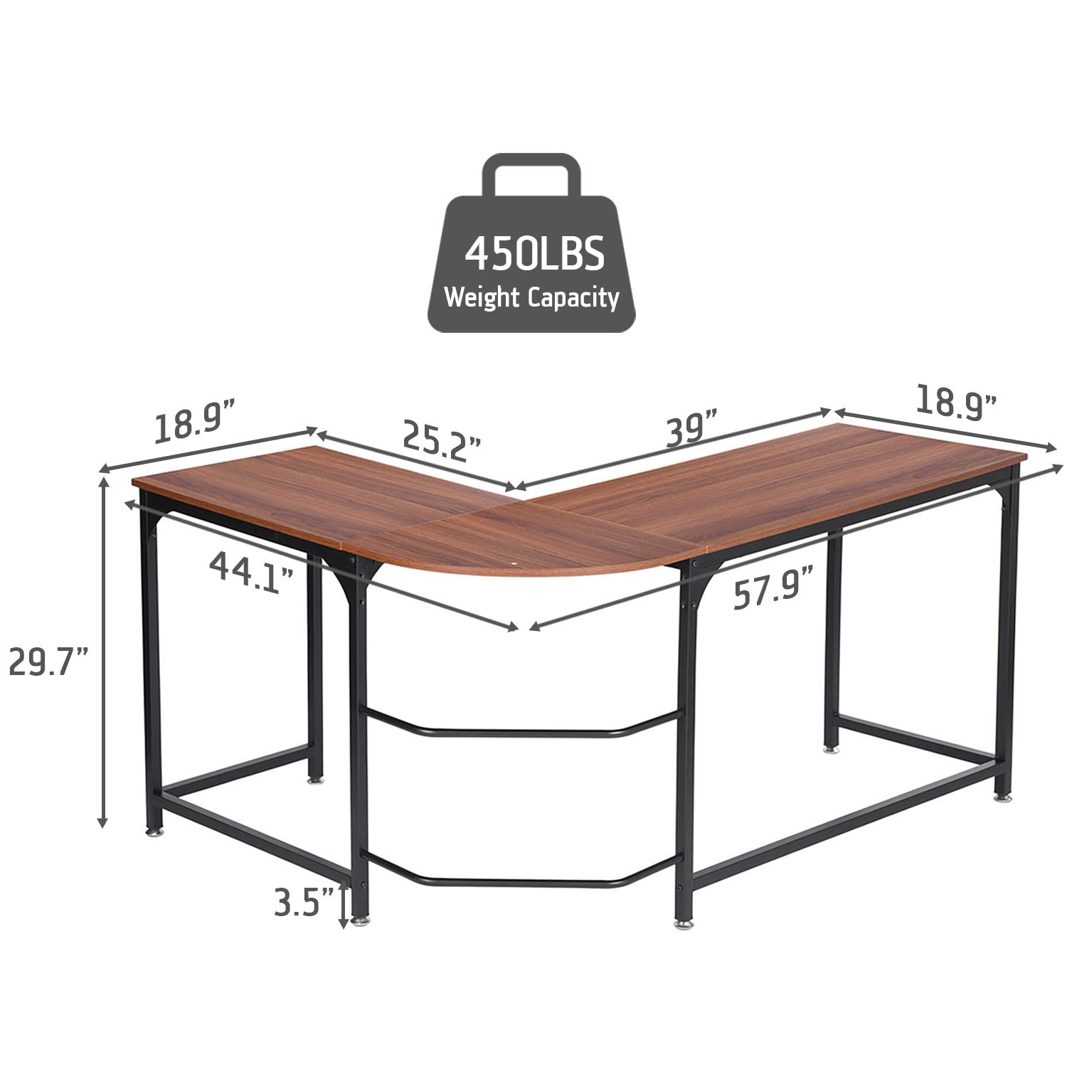 SimLife Reversible L-Shaped Corner Computer Desk Standard PC Laptop Study Table Smooth Desktop Modern Home Office Workstation by SimLife (Image #2)