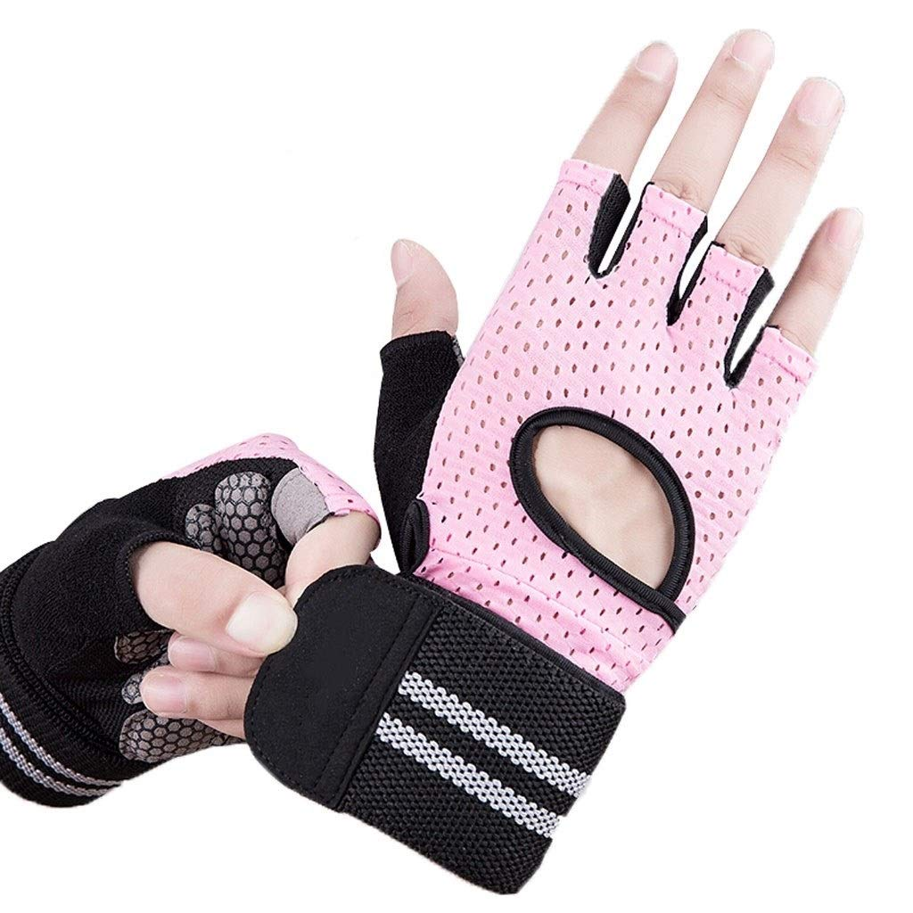 Gloves Outdoor Sports Sports Wristband Gloves Yoga Cycling Sports Equipment Fitness Equipment Training Half Finger Gloves (Pair) (Color : Pink B, Size : S) by CML Home