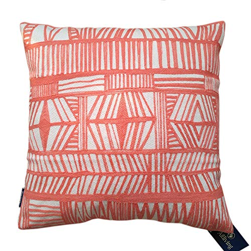 Aitliving Pillowcase Geometric Throw Pillow Cover Bolero Modern Boho Embroidery Cotton Canvas 1pc 18x18 Red Coral