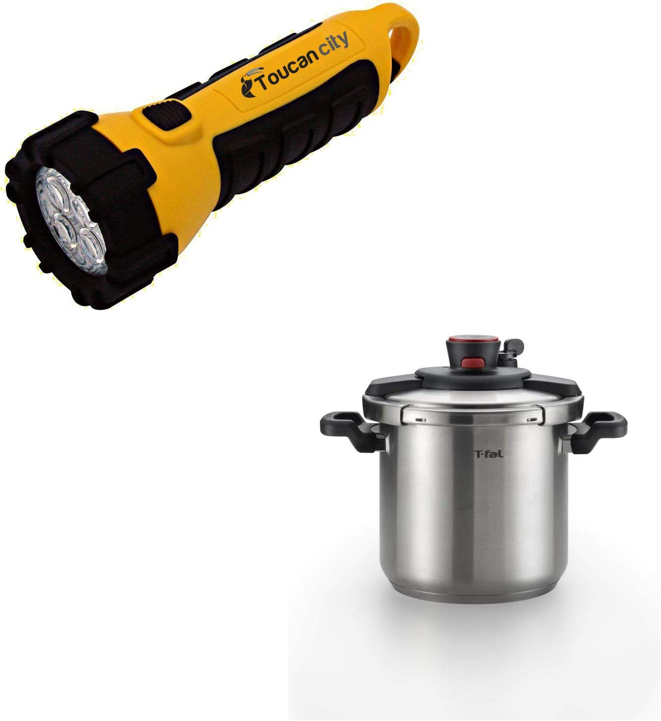 Toucan City LED Flashlight and T-fal 8 qt. Stainless Steel Stove Top Pressure Cooker with Steam Basket P4500936