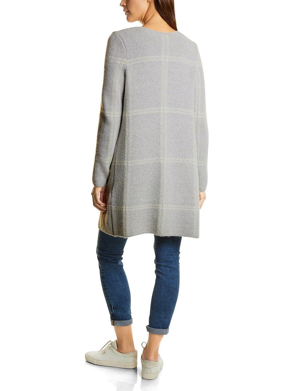 Street One Long Cardigan Check Dessin, Chaqueta Punto para Mujer, Grau (Cyber Grey Melange 20767), 40 (Talla del Fabricante: 38)