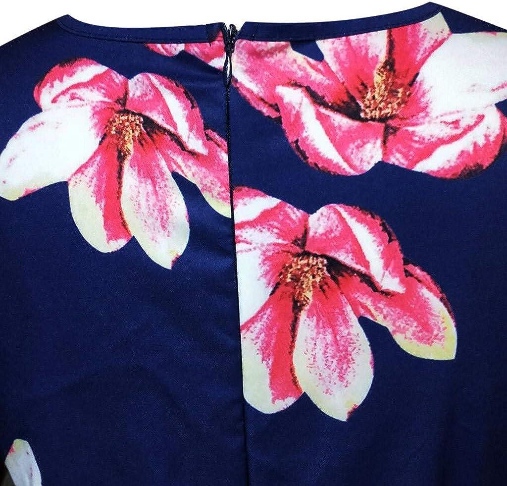 KPILP Womens Vintage Sleeveless Round Neck Dress Floral Print Swing Aline Mini Dresses Ladies Retro Hepburn Swing Fancy Party Dress Summer Fashion Casual Dress