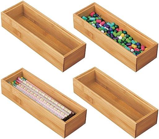 mDesign Juego de 4 Cajas organizadoras para Escritorio y cajón – Caja Rectangular de bambú – Organizador de Madera artículos de Oficina y Manualidades – Color Natural: Amazon.es: Hogar