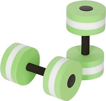 Qwhome Pesas de Espuma Unisex Adulto Aqua Dumbbell Aquatics Dumbbells Fitness Agua aeróbico Ejercicio Resistencia Ejercicios Piscina Equipo 2PCS,Green: ...
