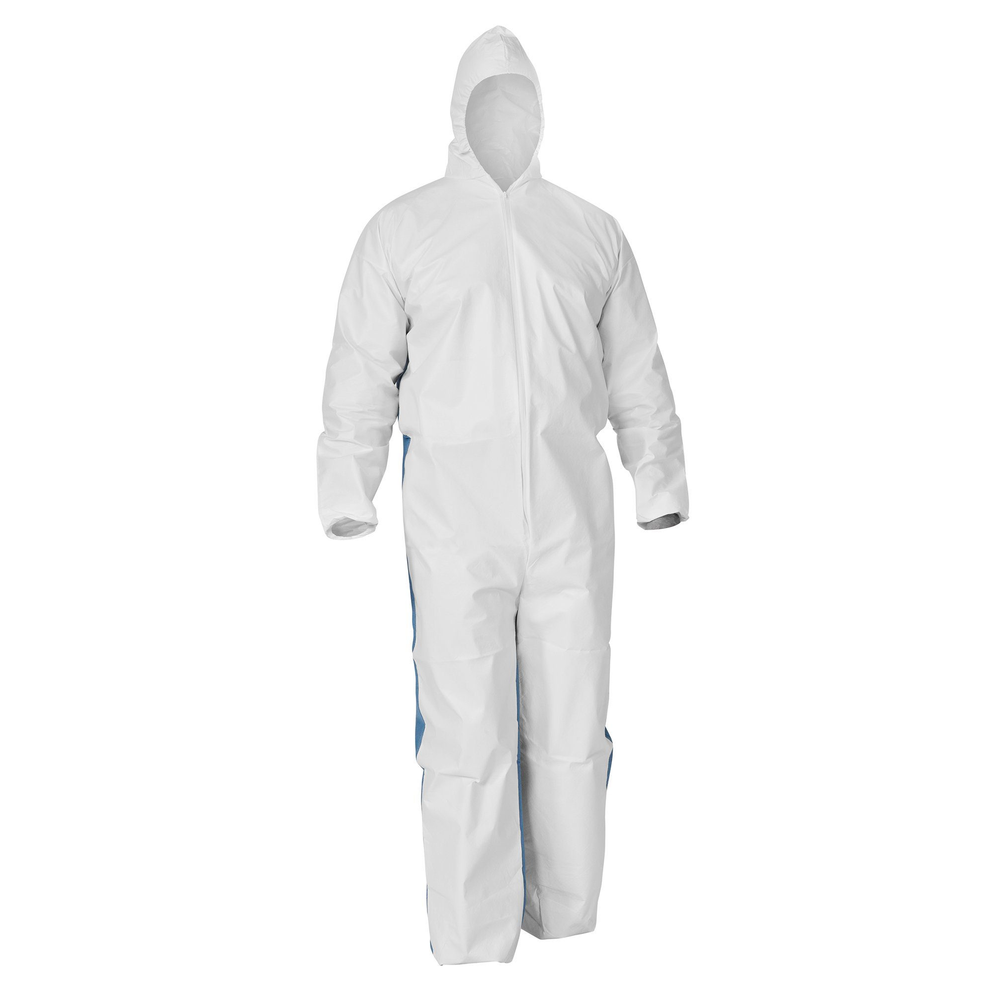 Kleenguard A40 Liquid & Particle Protection Coveralls (37591) with Blue Breathable Back, Zipper Front, Hood, EWA, White, Large, 25 / Case