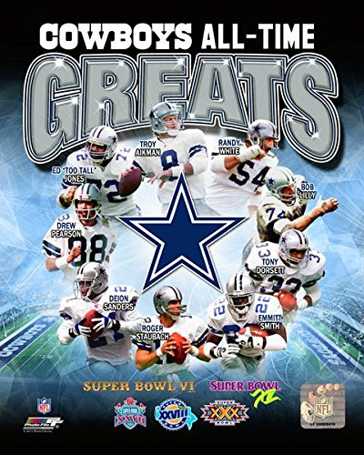 Troy Aikman Roger Staubach & The Dallas Cowboys All Time Greats 8x10 Photo, Picture ()