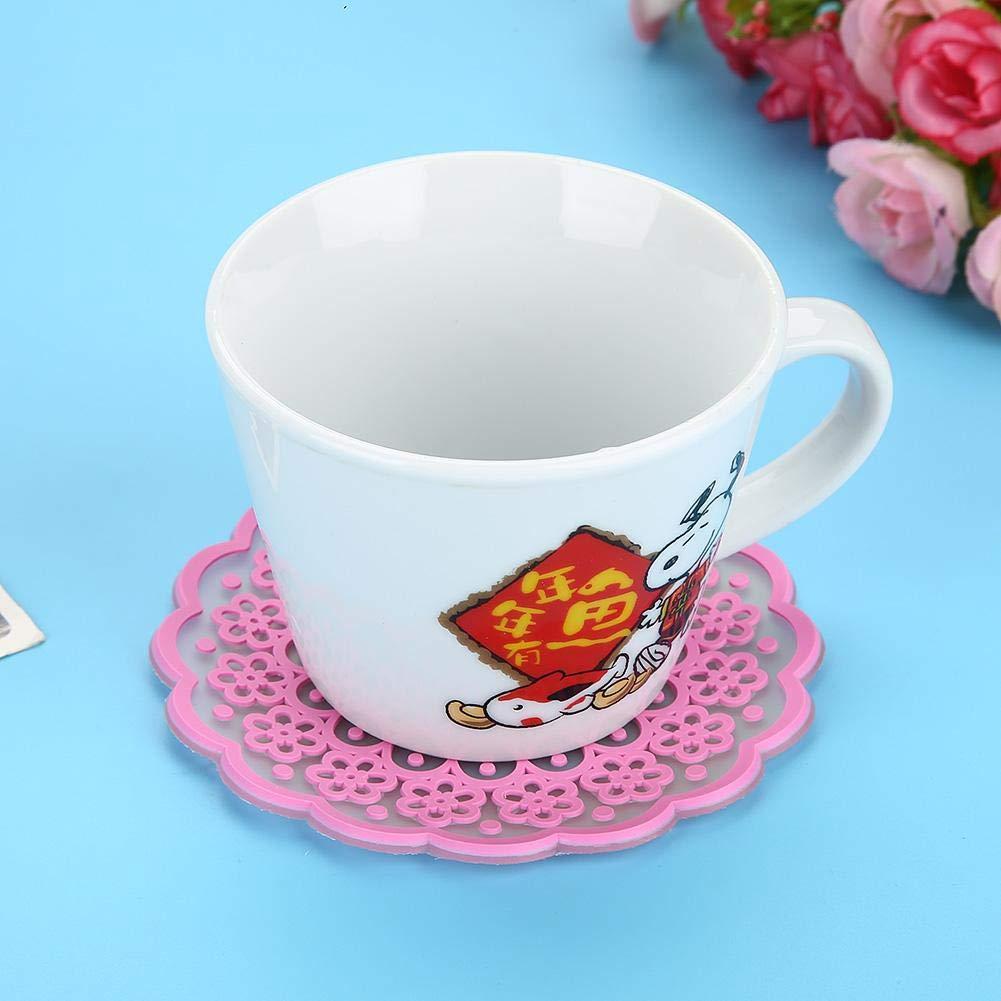 almohadilla ahuecada para bebidas taza de t/é de caf/é tapete de encaje Posavasos de taza de silicona