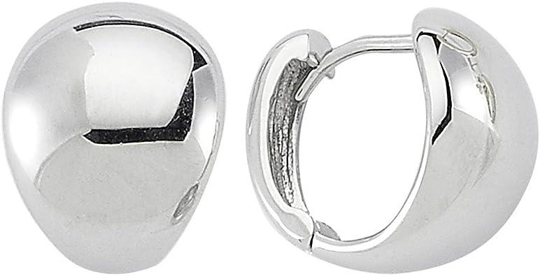 14K White Gold Polished 14mm Hinged Huggie Hoop Earrings