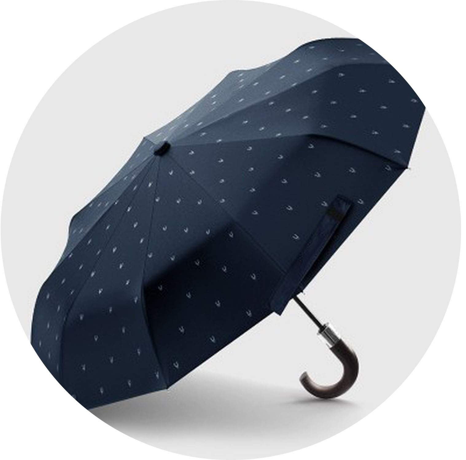 Wind Resistant Folding Automatic Umbrella Male Luxury Big Windproof Umbrellas for Men Rain Black Coating Mens Gifts Nylon XL,blue have pattern
