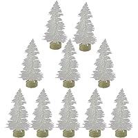 Leisial 10 Pcs Sapin de Noël Artificiel Mini Décoration de Table Intérieur de Miniature Arbre de Noël 6cm