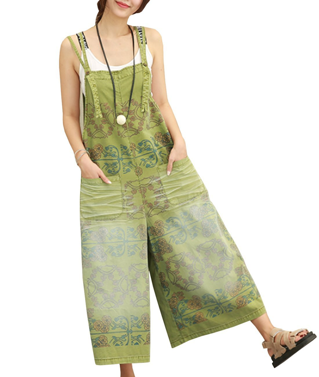 YESNO PE5 Women Loose Cropped Pants Overalls Rompers 100% Cotton Casual Floral Printed Distressed Boyfriend Wide Leg/Pockets, Pe5 Green, Medium