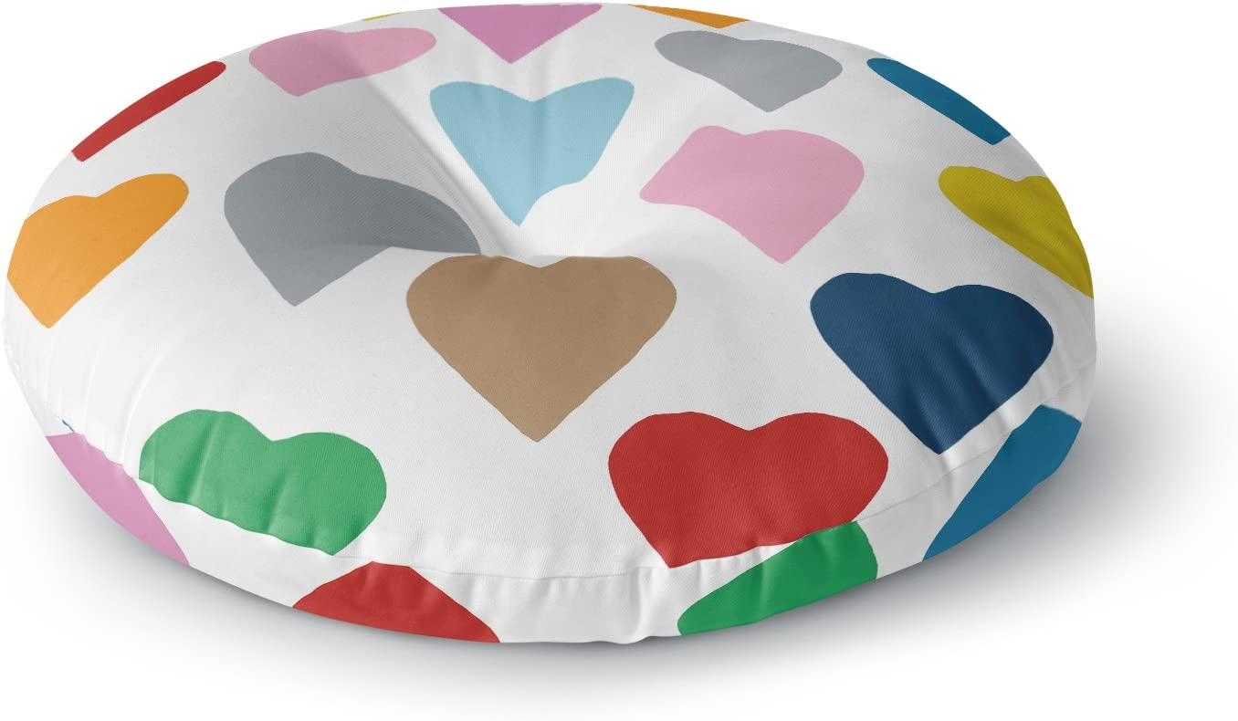 26 Round Floor Pillow KESS InHouse Project M Colorful Hearts