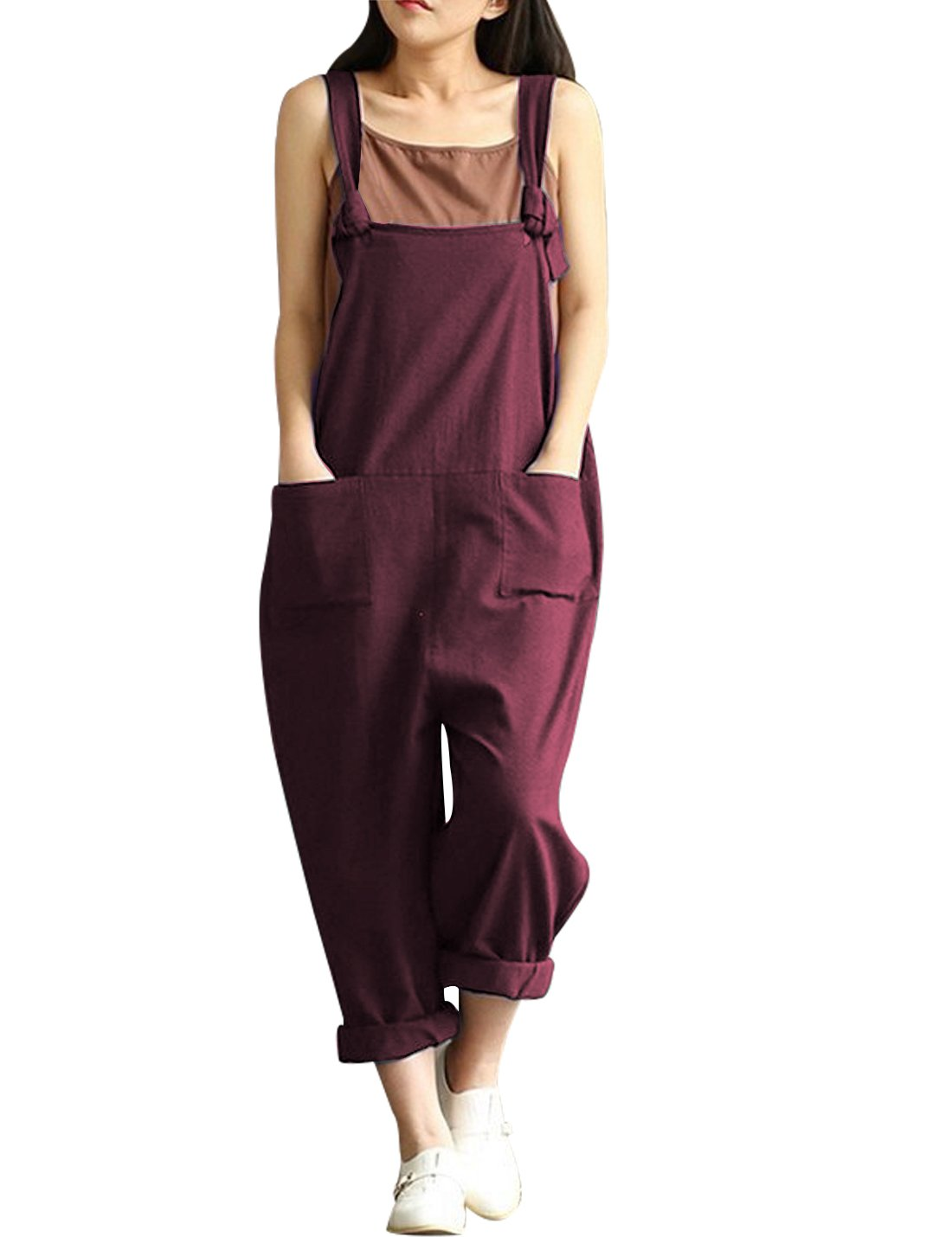 Yeokou Women's Linen Wide Leg Jumpsuit Rompers Overalls Harem Pants Plus Size (Medium, Style12Red) by Yeokou (Image #1)