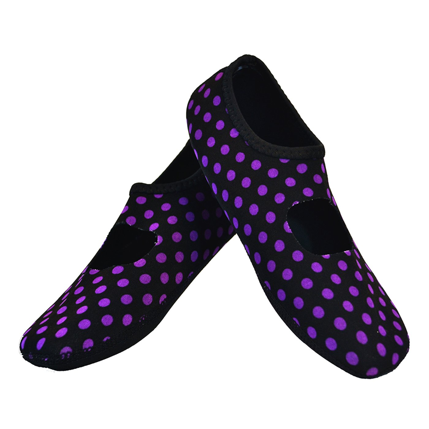 NuFoot Mary Janes Women's Shoes, Best Foldable & Flexible Flats, Slipper Socks, Travel Slippers & Exercise Shoes, Dance Shoes, Yoga Socks, House Shoes, Indoor Slippers, Black/Purple Polka Dots, Small