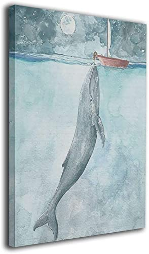 Colla Watercolor Art Whale Sailboat Painting Canvas Wall Art Squidward Paintings Abstract Modern Style for Living Room Bedroom Bathroom