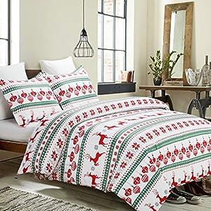 Vaulia Lightweight Microfiber Duvet Cover Set, Printed Pattern Design for Christmas Season - (King, Red & Green)