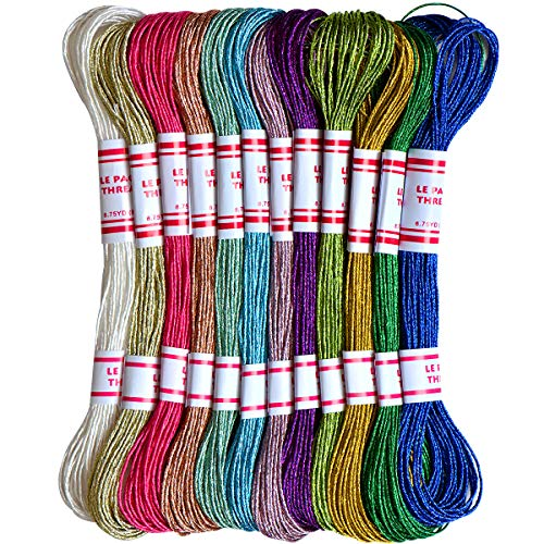 Embroidery Thread 8m Metallic Embroidery Floss 12Skeins All Purpose Assorted Muti-Colors Cross Stitch Tread Set for Craft Needlework Hand Embroidery Bracelets String DIY Craft