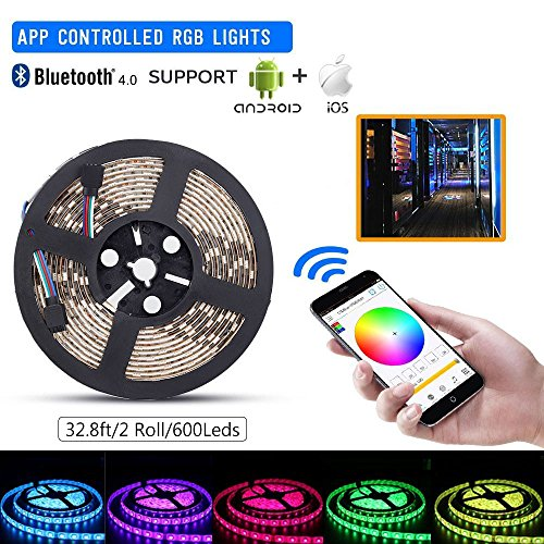 sanwo LED light Strip Kit, 32.8Ft RGB 600 Leds Waterproof App Strip Lights with 24V Power Supply, Bluetooth Controller and Rope Light Fixing Clips, Supply for Indoor/Outdoor, IOS and Android Commercial Strip Light