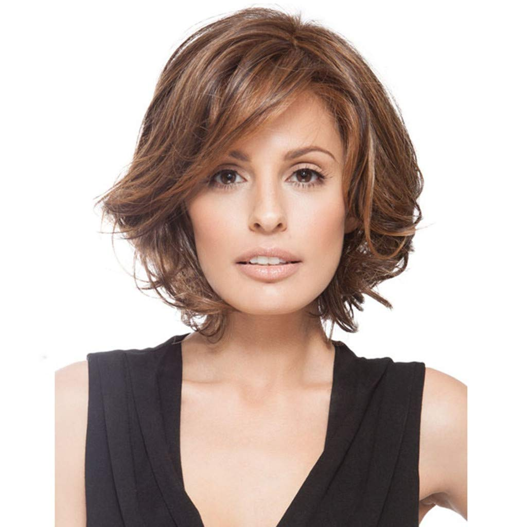 Amazon.com   Amaping Glueless Short Curly Lace Brazilian Full Wig for Women  Synthetic Wig Styling Cool Wig With Baby Hair High Density Natural  Temperament ... 9a25fd38c