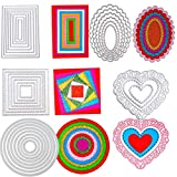 5 Sets Die Cuts Metal Cutting Dies Stencil, Buytra Nesting Dies for Card Making Scrapbooking Album Paper DIY Crafts - Rectangle, Square, Oval, Round, Heart Die Cutting, Total 32 Pieces