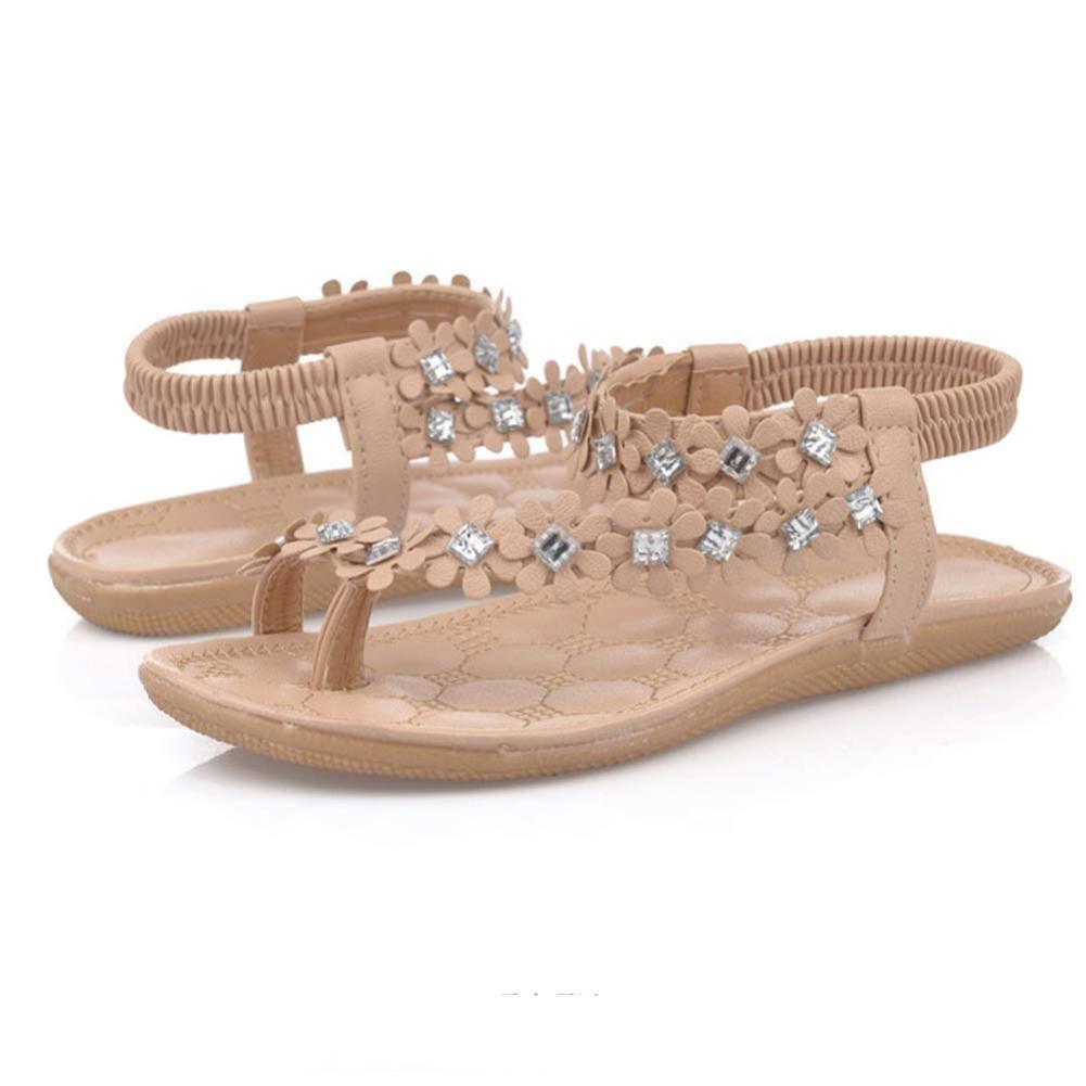 CLEARANCE SALE! MEIbax frau sommer bouml;hmen blume perlen flip - flop - schuhe flache sandalen (38, Khaki)  38|Khaki
