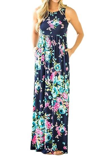 BOLAWOO Mujer Vestidos Largos Verano Elegantes Casual Flores Estampados Vintage Boho Maxi Vestido Largo Cuello Redondo Sin Mangas Cintura Alta con Bolsillo ...
