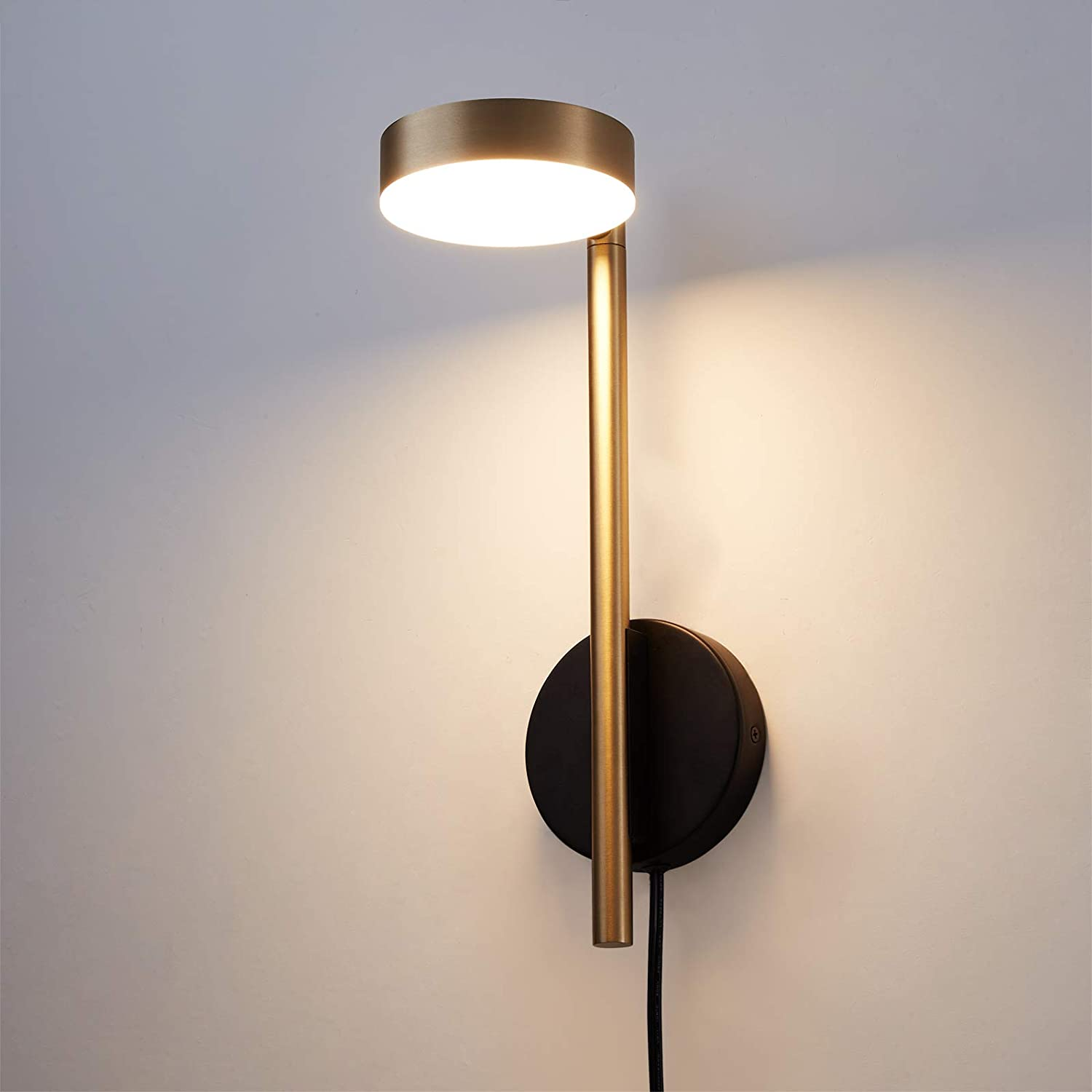 Adjustable LED Wall Lamp Plug in Wall Sconce for Bedroom Antique Brass Finished Wall Light Fixture for Living Room Home Hallway Dining with Switch 6W 3000K