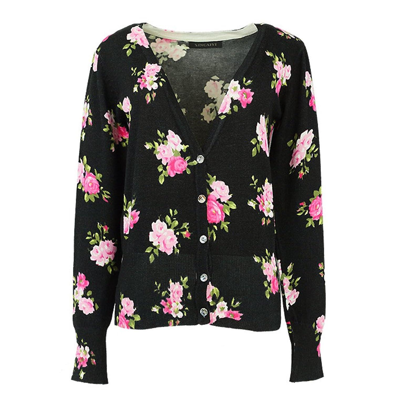 LOCOMO Black Colorful Flower Floral Print Pattern Cardigan Shrug FFJ037