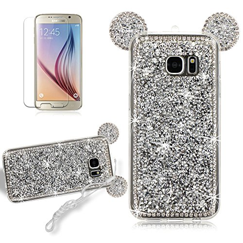 Slim Crystal Case for Samsung Galaxy S7 Edge, Girlyard Rhinestone 3D Diamond Bling Sparkle Shiny Cute Rabbit Ears Back Case Anti-Scratch Protective Cover Case with Neck Strap Lanyard-- Silver