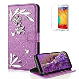 Funyye 3D Bling Flower Diamond Wallet Leather Case for Samsung Galaxy Note 8,Purple Premium Glitter Crystal Shiny Rhinestone PU Leather Protective Cover Case,Multifunctional Magnetic Flip with Stand Credit Card Holder Slots Case for Samsung Galaxy Note 8 + 1 x Free Screen Protector
