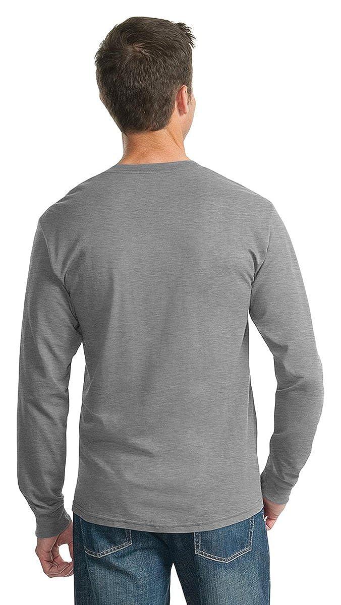 Black Large Adult Long-Sleeve Heavyweight Blend T-Shirt