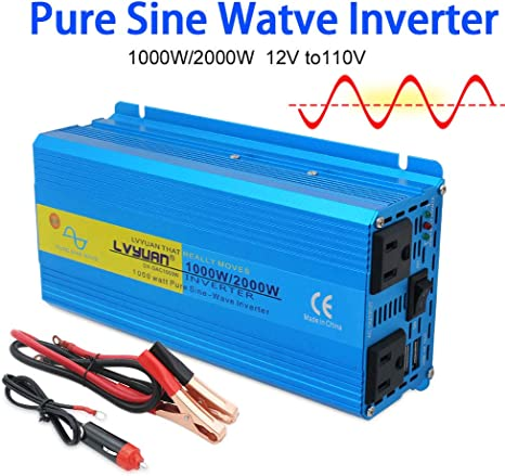 1000W Continuous 12V DC to 110V AC Pure Sine Wave Inverter