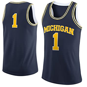 brand new 2617a e0c3e NCAA Men s Brand Jordan Navy Michigan Wolverines  1 Basketball College  Jersey  Amazon.co.uk  Sports   Outdoors