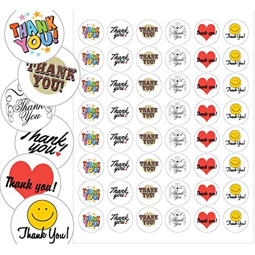 "Assorted Thank You Envelope Seals - 1.2"" Thank You Stickers - 144 Stickers for cheap"