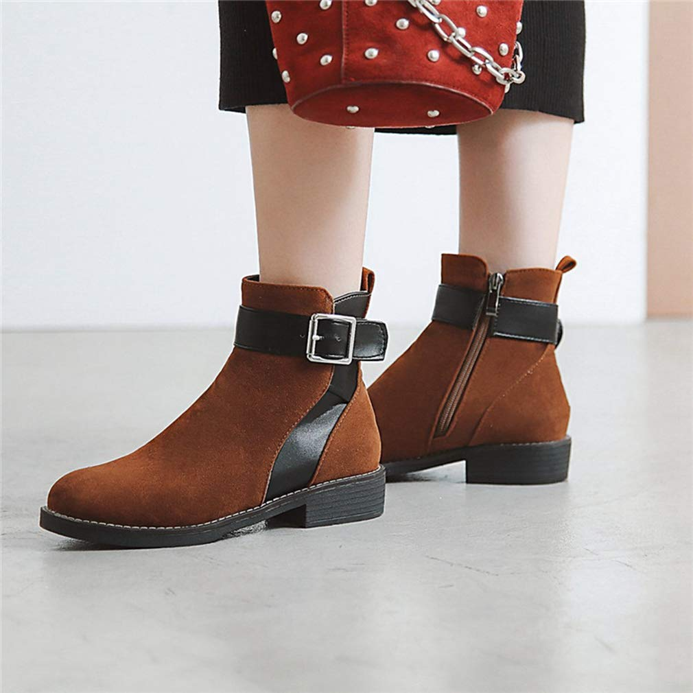 Gcanwea Women Flock Autumn Design Ankle Boots Round Toe Comfortable Low Heels Shoes Warm Dress Skinny Rubber Sole Girls No Grinding Feet Easy to Match Casual Joker Black 4.5 M US Ankle Boots