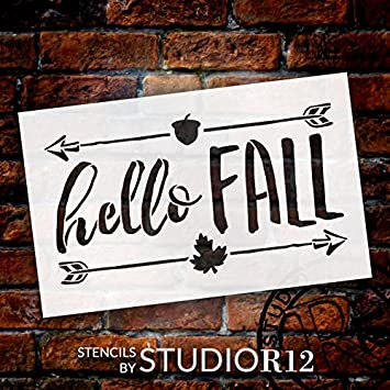 Hello Fall Stencil by StudioR12 | Shabby Chic Word Art - Mylar Template | Painting, Chalk, Mixed Media | Use for Journaling, DIY Home Decor -CHOOSE SIZE (8 x 5) Studio R 12