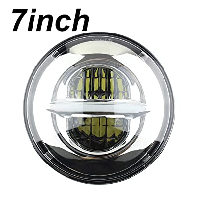 7'' Round LED Projection Headlight compatible for Car Sportster Motorcycle Headlamp (Chrome) …: Automotive
