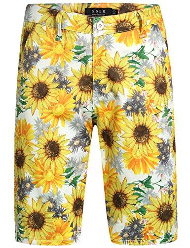 SSLR Men's Sunflowers Print Regular Fit Casual Hawaiian Shorts (40, White)