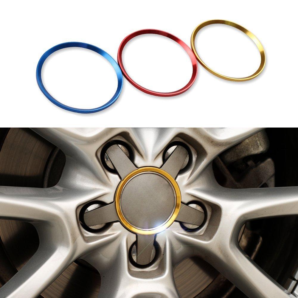 Cogeek Lot de 4 cercles d/écoratifs de roues de voiture pour Audi A3 A4 A5 A6 A7 A8 Q3 Q5 Q7 S3 S4 S5 S6 S7 S8