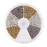Pandahall 1Box 3 Colors 700pcs Iron Screw Eye Pin Bail Peg for Clay Jewelry, Resin Bead, Golden & Silver & Platinum