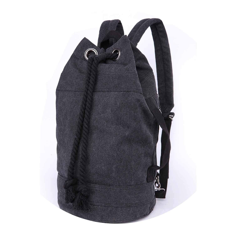 New Black Canvas Large Capacity Women/'s Men/'s Drawstring Backpack Bucket Bag