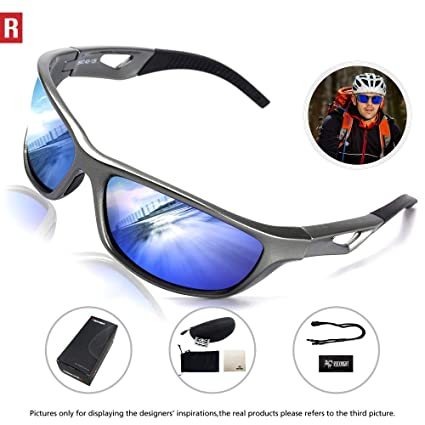 ab92785db6 Amazon.com   Motorcycle Glasses Polarized Sports Sunglasses UV Protection  for Men Women Running Cycling Baseball Golf 306 Blue   Sports   Outdoors