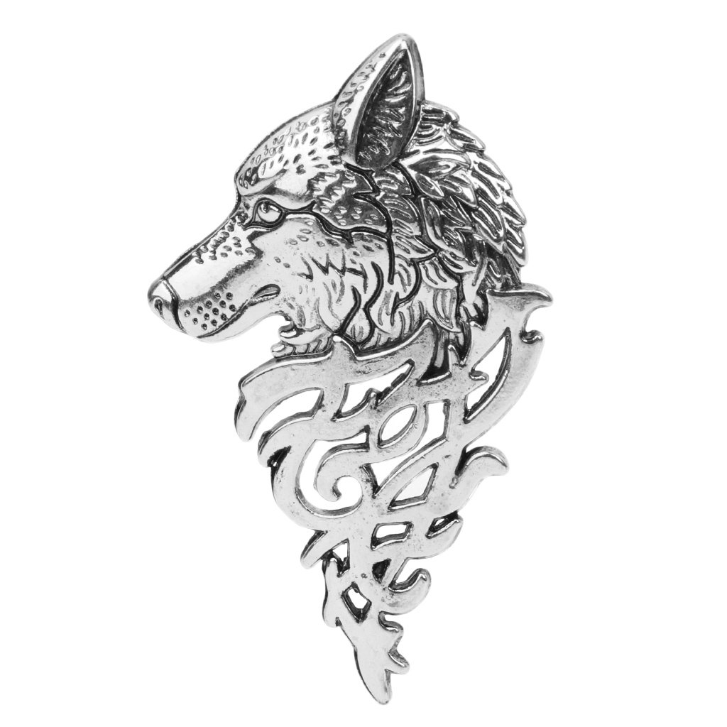 Amazon.com: hukai Retro Europe cabeza de lobo insignia ...