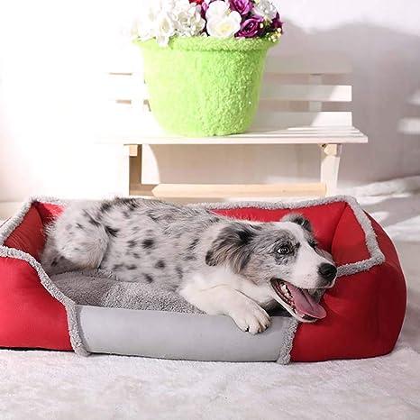 laamei Cama para Mascotas Rectangular Colchoneta Cama con Almohada de Dormir Suave y Acogedor para Perros