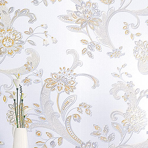 Modern Simple Flower Pattern 3D Non-woven Flocking Embossed Textured Wallpaper Roll Interior Living Room Bedroom Decoration Off-white