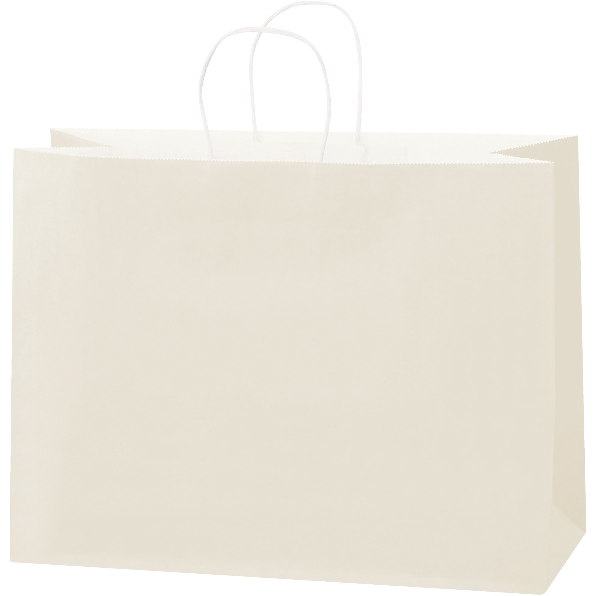 Tinted Paper Shopping Bags, 16'' x 6'' x 12'', French Vanilla, 250/Case